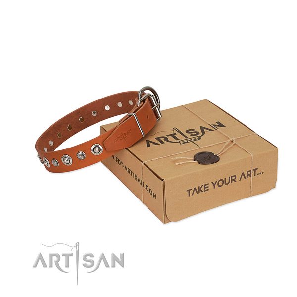 Durable genuine leather dog collar with fashionable adornments