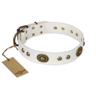 """Adorable Dream"" FDT Artisan White Leather Doberman Collar"