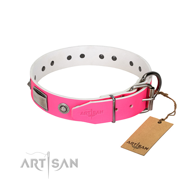 Top quality natural leather collar with studs for your dog