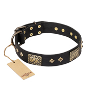 """Jewel Passion"" FDT Artisan Fashionable Black Leather Doberman Collar"