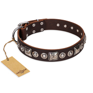 """Pierian spring"" FDT Artisan Brown Leather Doberman Collar with Silvery Decorations"