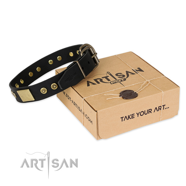 Durable traditional buckle on full grain natural leather dog collar for comfortable wearing