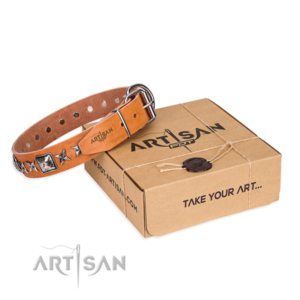 Handy use natural leather dog collar with embellishments