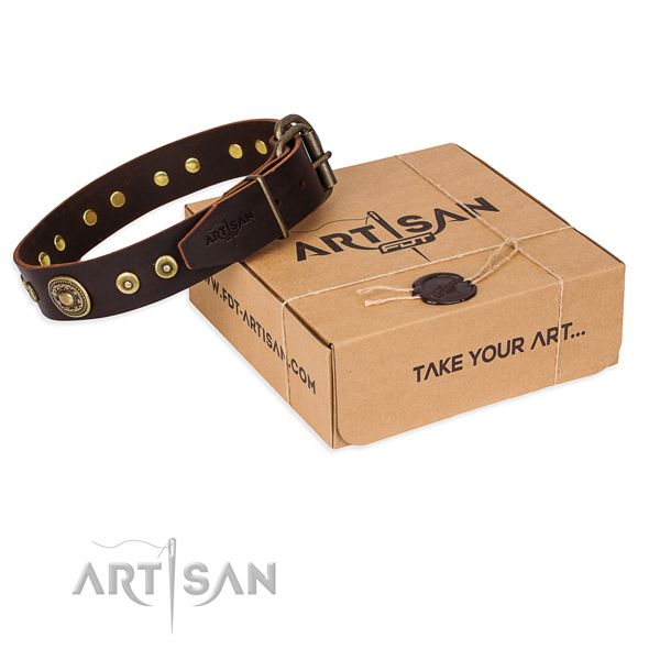 Full grain natural leather dog collar made of soft to touch material with durable traditional buckle