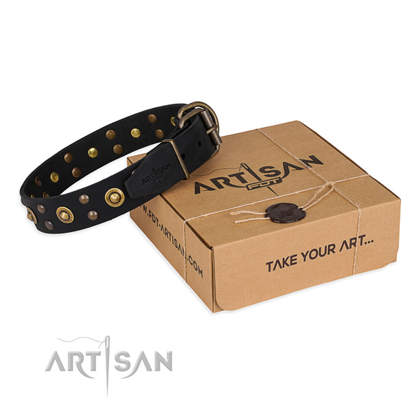 Rust-proof hardware on full grain natural leather collar for your impressive dog