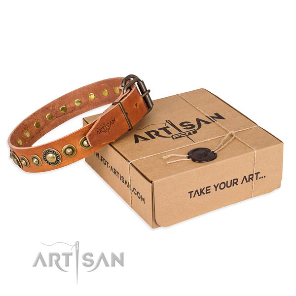 Reliable full grain natural leather dog collar handmade for comfortable wearing