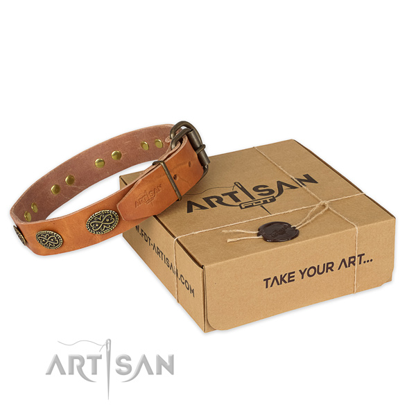 Rust resistant fittings on full grain genuine leather collar for your stylish canine
