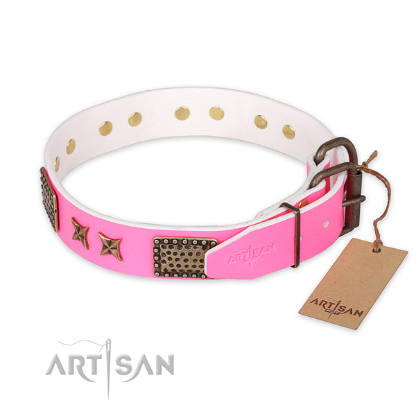 Strong hardware on natural genuine leather collar for your attractive doggie