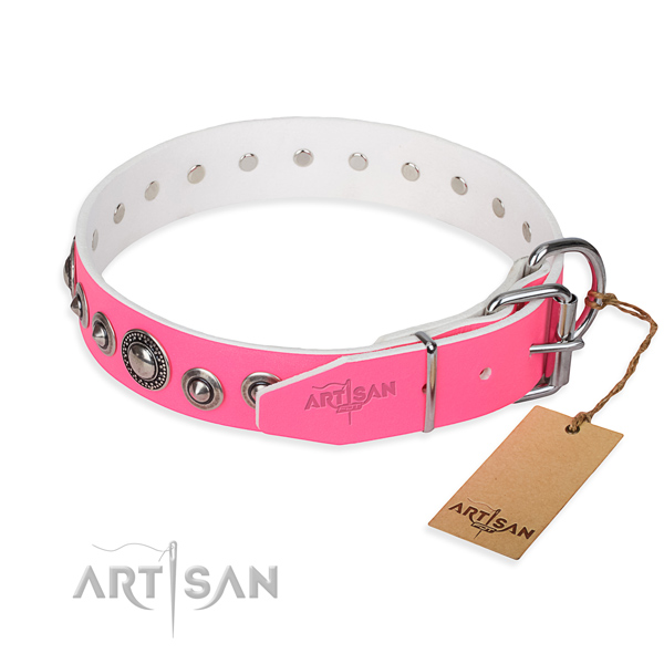 Full grain leather dog collar made of high quality material with strong decorations