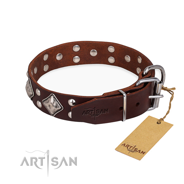Full grain genuine leather dog collar with awesome rust resistant embellishments