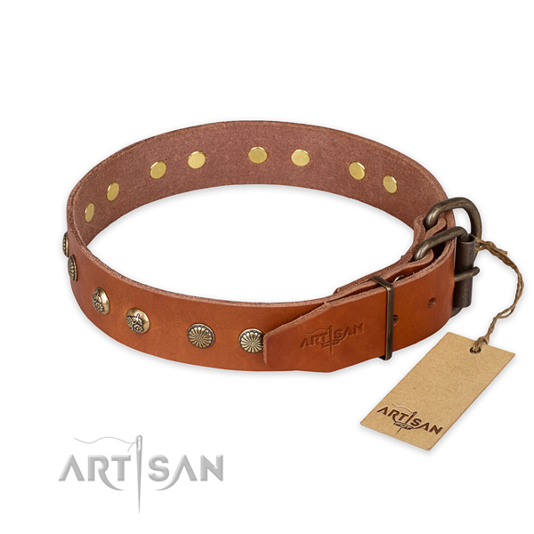 Corrosion resistant D-ring on natural genuine leather collar for your impressive four-legged friend