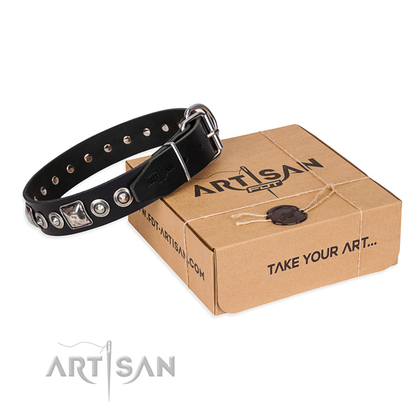 Leather dog collar made of top rate material with durable fittings