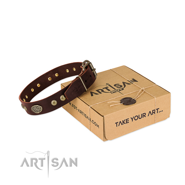 Strong traditional buckle on full grain natural leather dog collar for your four-legged friend