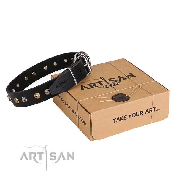 High quality full grain natural leather dog collar handmade for walking