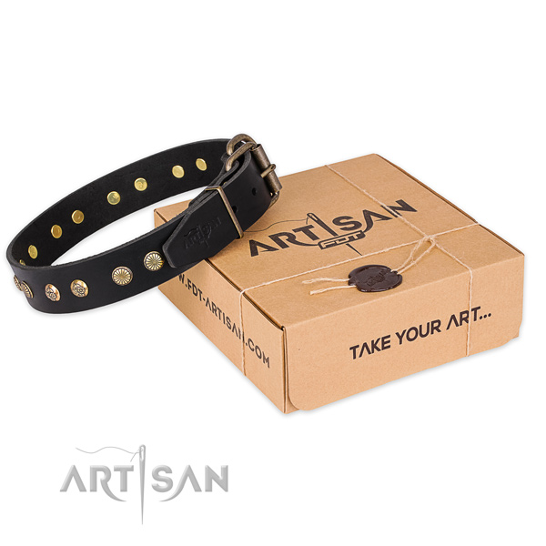 Rust-proof D-ring on full grain natural leather collar for your lovely four-legged friend