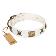 """Glo Up"" FDT Artisan White Leather Doberman Collar with Skulls and Crossbones Combined with Squares"