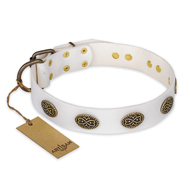 """Lovely Lace"" FDT Artisan White Leather Doberman Collar with Old Bronze Look Ovals"