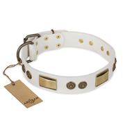 """Golden Avalanche"" FDT Artisan White Leather Doberman Collar with Old Bronze Look Plates and Circles"