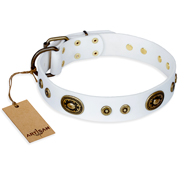 """Magnetic Appeal"" FDT Artisan White Leather Doberman Collar with Old Bronze Look Decorations"