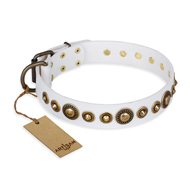 """Swirl of Fashion"" FDT Artisan Delicate White Leather Doberman Collar with Stunning Bronze-Plated Round Studs"