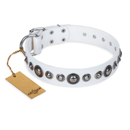 """Ice Age"" FDT Artisan White Studded Leather Doberman Collar"
