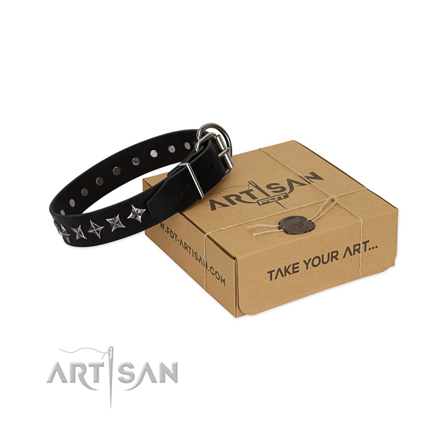 Comfortable wearing dog collar of finest quality leather with adornments
