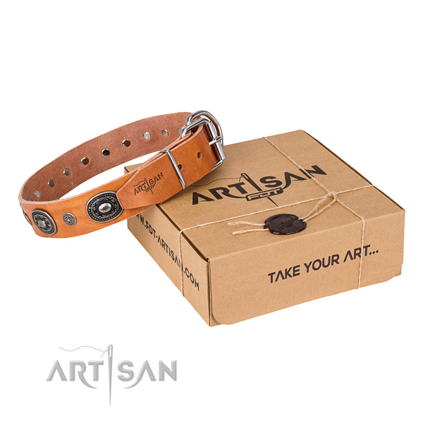 Gentle to touch natural genuine leather dog collar crafted for handy use