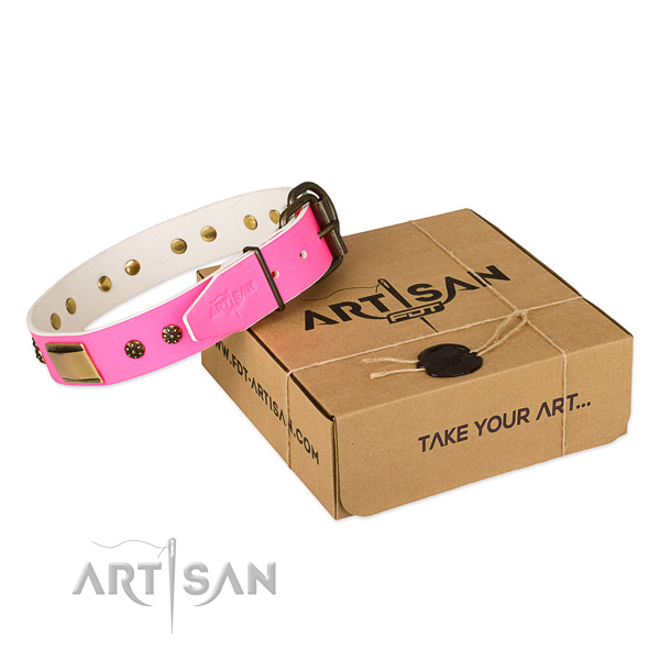 Easy wearing natural genuine leather collar for your lovely canine