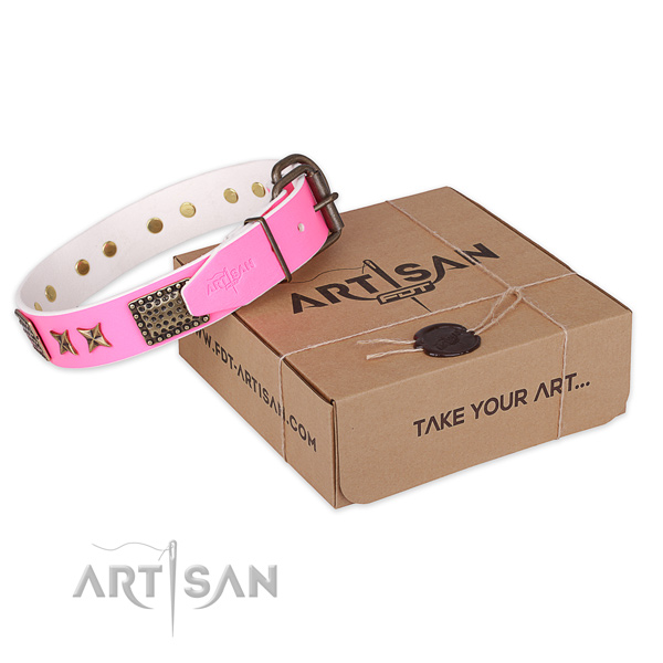 Strong fittings on full grain natural leather collar for your lovely canine