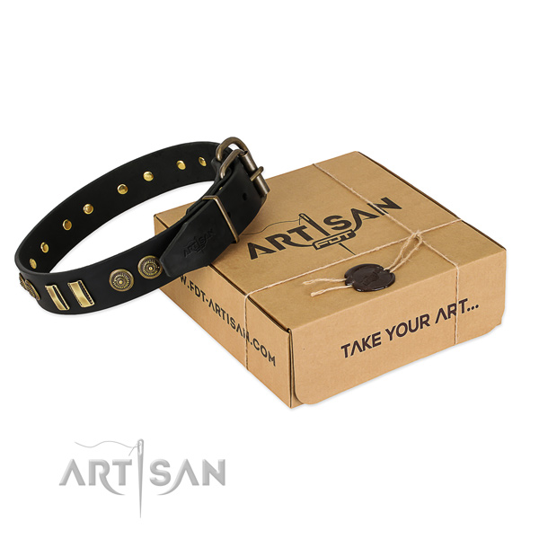 Strong fittings on full grain genuine leather dog collar for your doggie