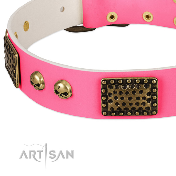 Corrosion proof adornments on full grain leather dog collar for your four-legged friend