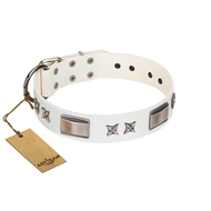 """Bling-Bling"" FDT Artisan White Leather Doberman Collar with Sparkling Stars and Plates"