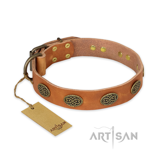 Unusual full grain natural leather dog collar with rust-proof traditional buckle