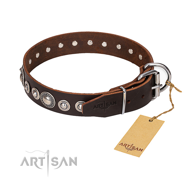 Full grain leather dog collar made of quality material with corrosion proof D-ring