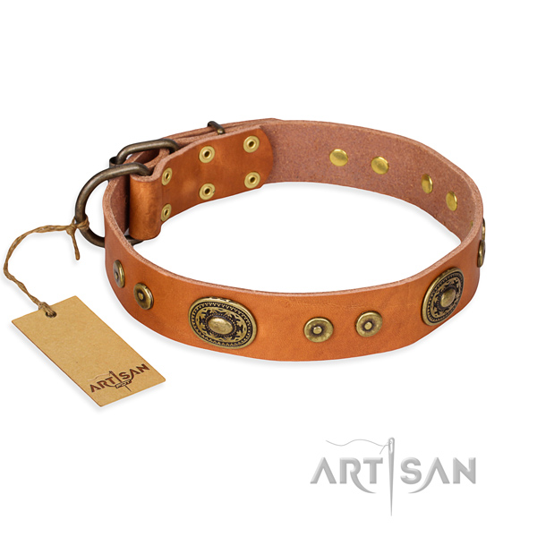 Full grain genuine leather dog collar made of high quality material with reliable buckle
