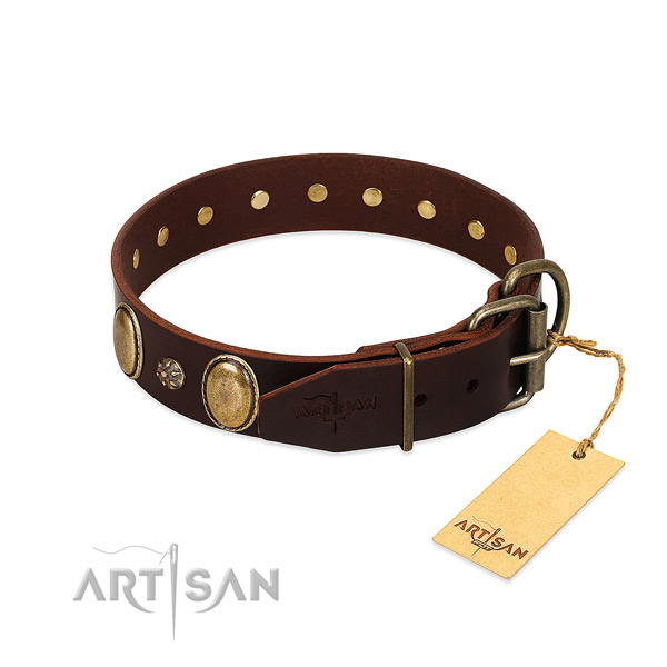 Comfy wearing top notch full grain leather dog collar