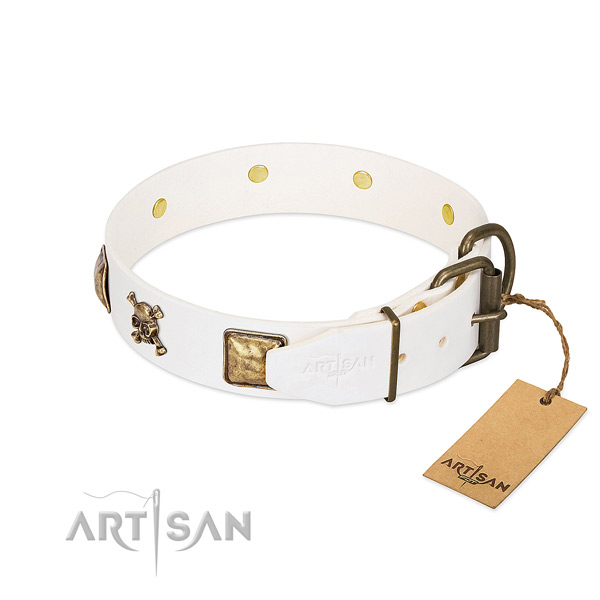 Stylish full grain natural leather dog collar with corrosion proof studs