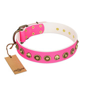 """Pawty Time"" FDT Artisan Pink Leather Doberman Collar with Decorative Skulls and Brooches"