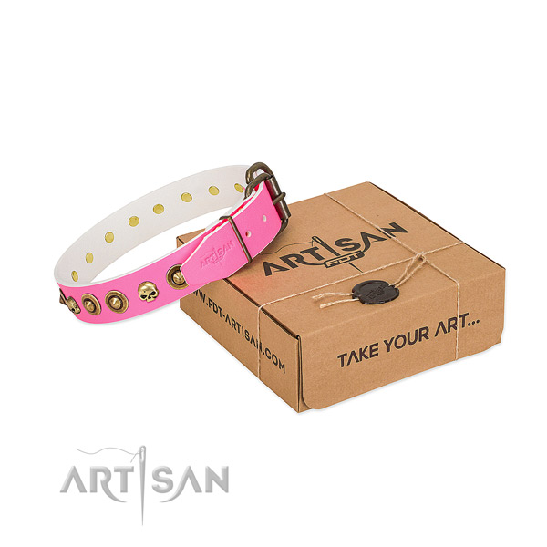 Genuine leather collar with extraordinary decorations for your four-legged friend
