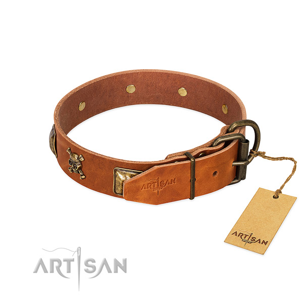 Stylish design full grain natural leather dog collar with durable adornments