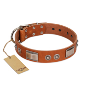 """Pawsy Glossy"" FDT Artisan Exclusive Tan Leather Doberman Collar 1 1/2 inch (40 mm) wide"