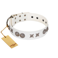 """Seventh Heavens"" FDT Artisan White Leather Doberman Collar with Chrome-plated Stars and Engraved Brooches"