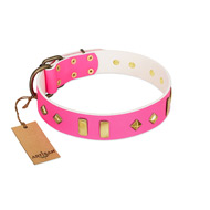 """Gentle Temptation"" FDT Artisan Pink Leather Doberman Collar with Goldish Plates and Studs"