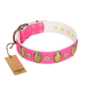 """Drawing Power"" FDT Artisan Pink Leather Doberman Collar with Engraved Ovals and Dotted Studs"