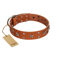 """Faraway Galaxy"" FDT Artisan Tan Leather Doberman Collar Adorned with Stars and Squares"