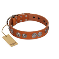 """Woofy Majesty"" FDT Artisan Tan Leather Doberman Collar with Round Silver-like Plates"