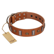 """Golden Crossbones"" Handmade FDT Artisan Tan Leather Doberman Collar with Plates and Skulls"