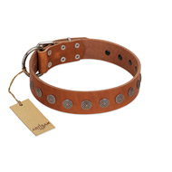 """Lucky Star"" Handmade FDT Artisan Designer Tan Leather Doberman Collar with Round Plates"