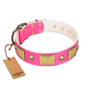 """Glammy Voyage"" FDT Artisan Pink Leather Doberman Collar with Stylish Bronze-like Decorations"
