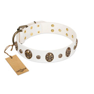 """Magic Bullet"" FDT Artisan White Leather Doberman Collar with Studs and Skulls"